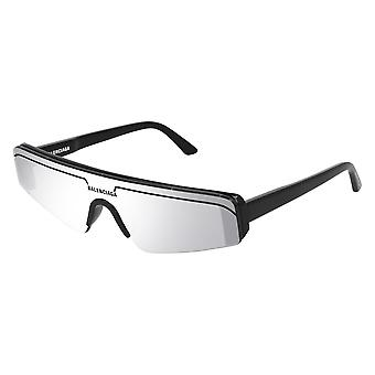 Balenciaga BB0003S 005 Black/Silver Mirror Sunglasses