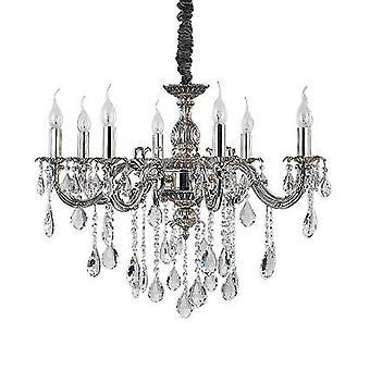 Ideale Lux Impero - 8 Licht Kristal Kroonluchter Kristal, Zilveren Afwerking, E14