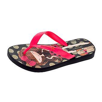 Ipanema Dotty Girls Beach Flip Flops / Sandalen - Schwarz und Rosa