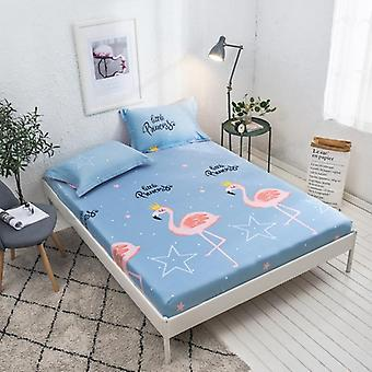 Geometric Printed Fitted Bed Sheet With Elastic Band Bed Linen Cotton Queen
