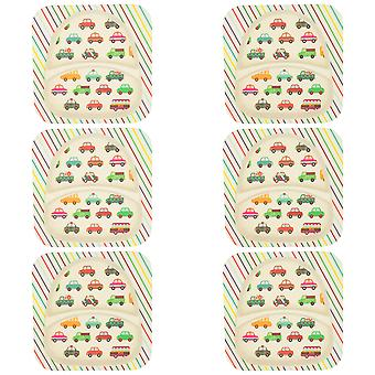 Tiny Dining Children's Bamboo Fibre Dining Plate - Voitures - Pack de 6