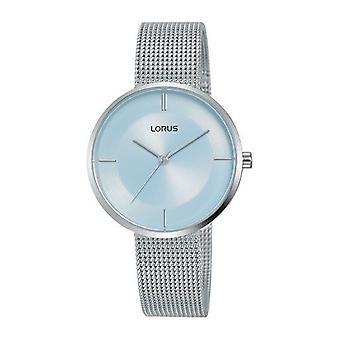 Lorus Damen große schlanke Zifferblatt Edelstahl Mesh Armband & weiße Zifferblatt Uhr