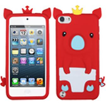 Asmyna Crown Piggie Pastel Skin Case pour Apple iPod Touch 5th Gen - Rouge