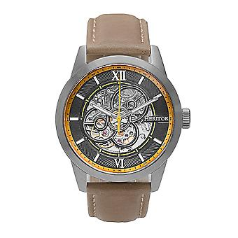 Heritor Automatic Jonas Leather-Band Skeleton Watch - Silver/Bronze
