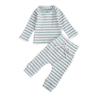 0-18m Autumn Winter Baby Pajama Sets Striped Long Sleeve Pullover Tops Pants 2pcs