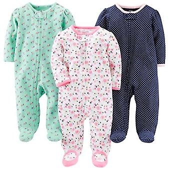 Simple Joys by Carter's Baby Girls' 3-Pack Sleep and Play, Pink Floral, Blue ...