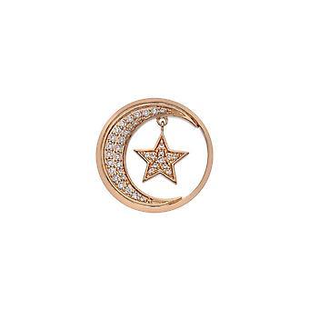 Emozioni Sterling Zilveren Plaat Notturno Drop Rose Gold Plate 25mm Coin EC522