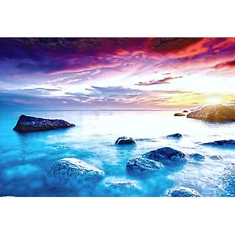 Wall mural majestic summer sunset over the sea (400x260 cm)