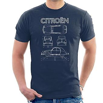 Citro�n 2CV White Diagram Views Men's T-Shirt
