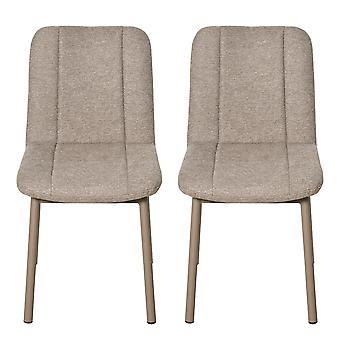HOMCOM 2 Pieces Armless Mid Back Dining Chair Leisure Fabric Upholstered Padded Seat with Metal Legs for Living Room, Bedroom, Dorm, Office, Khaki