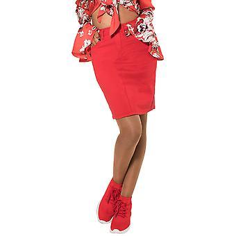 Womens Jeans Skirt Midi Skirt Knee Long Stretch Back with Slit Denim Optics