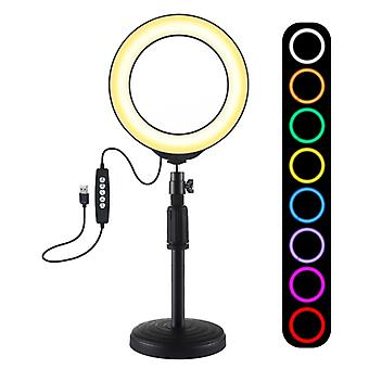 PULUZ 6,2 tum 16cm USB 10 Lägen 8 Färger RGBW Dimbar LED-ring Vlogging Fotografi Video Lights + Round Base skrivbordsfäste med cold shoe tripod ba