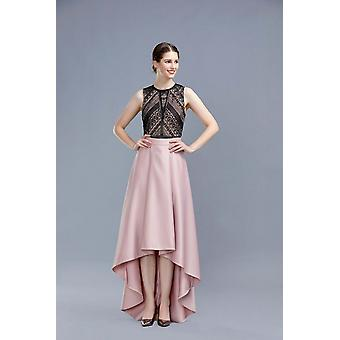 Nude hi-lo frilled paris style long skirt