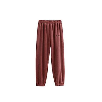 Women Flannel Pajama Bloomers Pants, Winter Elastic Loose Trousers Waist Solid