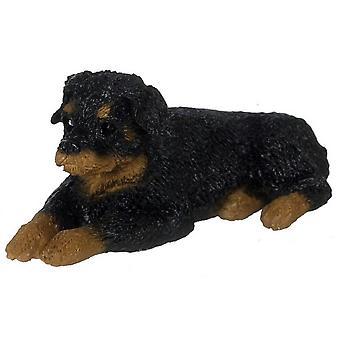 Dolls House Rottweiler Lying Down Resting 1:24 Scale Half Inch Pet Dog Animal
