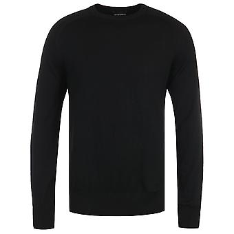 Emporio Armani Virgin Wool Classic Black Crew Neck Sweater