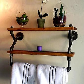 Water Pipe Towel Rack, Iron Art Solid Wood Wall Hanging/creative Bathroom