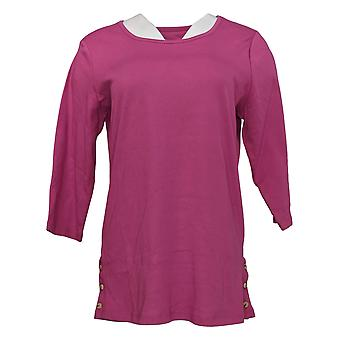 Denim & Co. Kobiety&s Top Essentials Scoop Neck 3/4 Slv Tunik Purple A366972