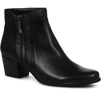 Regarde Le Ciel Womens Isabel Block Heel Leather Ankle Boots