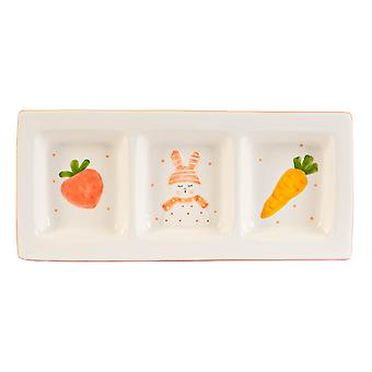 Easter Bunny Snack Plate Hand Painted Buffet Party Tableware 31cm White