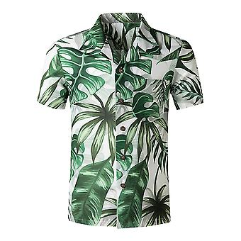 Yunyun Men's Vogue Printed Floral Tropical Front Pocket Short Sleeve Button Down Casual  Summer Shirt
