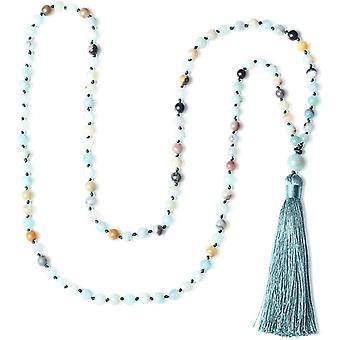 HaiFei Unisex Handgeknpft 108 Mala aus Amazonit Buddhistische Halskette Gebetskette