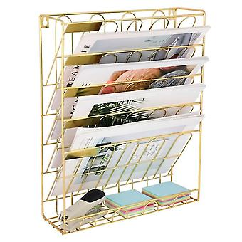 Hanging Wall File Magzine Organizer 5 Slot Wire Metal Wall Mounted Document