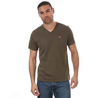 Men's Levis Original Housemarked V-Neck T-Shirt in Green