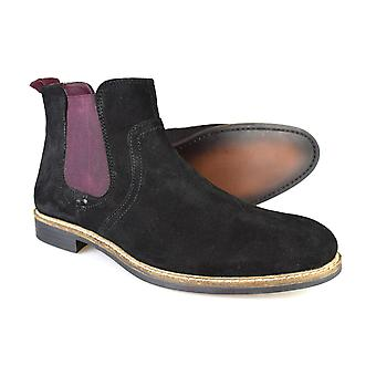 Red Tape Newton Black / Bordeaux Classic Suede Chelsea Boots