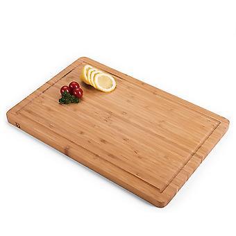 HanFei Schneidebrett aus 100% Bambus - antiseptisches Holz-Brett mit Saftrille, Holz-Brettchen,