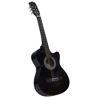 """vidaXL Western Acoustic Cutaway Guitar com 6 strings black 38"""""""