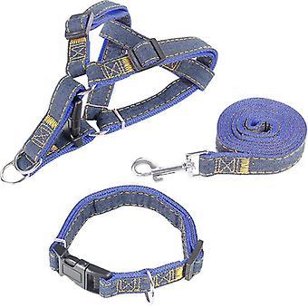 Cowboy Dog Traction Talutushihna Koiran rintahihna Koiran kaulus Kolmiosainen puku Paksu kulumista kestävä koko M