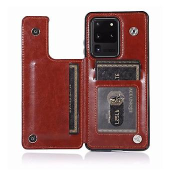 WeFor Samsung Galaxy S20 Ultra Retro Läder Flip Case Wallet - Wallet PU Läder Cover Cas Case Brun