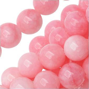 Ädelstenspärlor, Candy Jade, Rund 8mm, 15 Tums Strand, Rosa