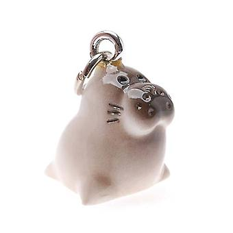 Jewelry Charm, 3-D Hand Painted Resin Baby Seal 17mm, 1 Piece, Brown