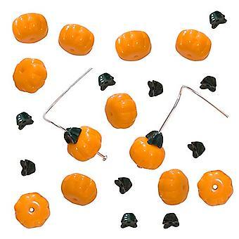 Tšekki lasinen bead set oranssi kurpitsat vihreät varret 11mm (12 sarjaa)