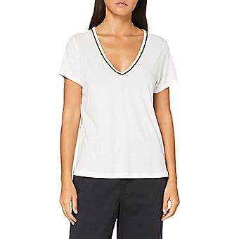 Scotch & Soda V-Neck Tee with Lurex Piping T-Shirt, off White 0001, S Woman