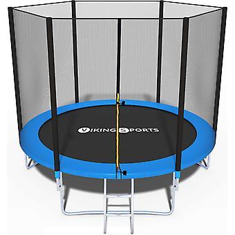 Trampolína - modrá- 244 cm s bezpečnostní sítí - do 110 kg