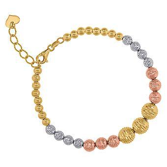 14 k Tri Farbe Gold Frauen strukturierte Perlen Fußkettchen Schmuck Geschenke für Frauen - 7,6 Gramm