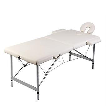 vidaXL Massagetisch mit Aluminiumrahmen Klappbar 2 Zonen Cremeweiß