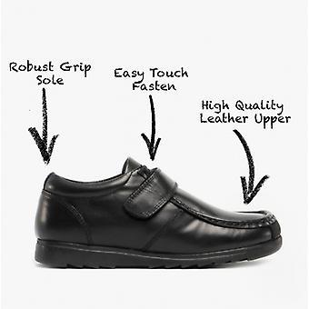 Roamers Generals Niños Cuero Touch Zapatos Negro