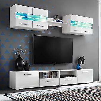 VidaXL 5 יח'. טלוויזיה חיה קיר להגדיר עם נורות LED לבן מבריק גבוה