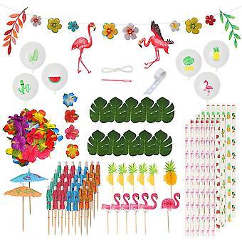 115Stk Hawaii Party Dekor Set, Tropische Flamingo Banner Palmblätter Hibiskusblumen Girlande Getränk