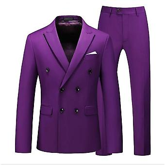 Men's Single-breasted One Button Center Vent 2 Pieces Slim Fit Formal Suit