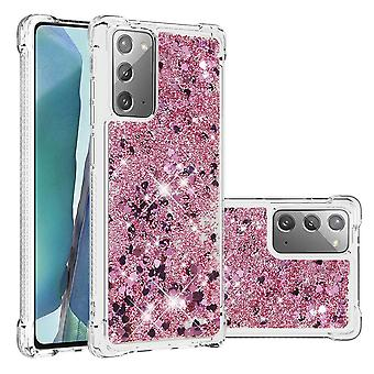 Case For Samsung Galaxy Note 20 Bumper Cover Sparkly Glitter Bling Flowing Liquid - Rose Clair
