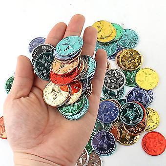 Spela pengar banking plast pirat guld färgglada skattmynt för party play spel leveranser