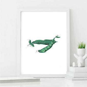 Beautiful Pea Wall Art Illustration   Kitchen Decor Print   A4 with White Frame