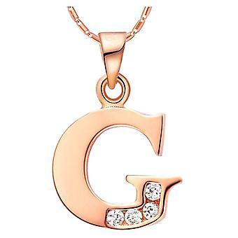 (Růžové zlato, G)  Pánské ženy jméno počáteční písmeno přívěsek náhrdelník měď na bázi, 19.68 palec řetěz,26