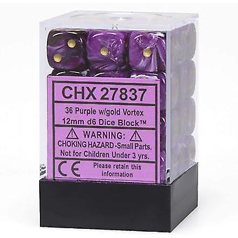 Chessex 12mm d6 Terningeblok: Vortex Lilla/guld