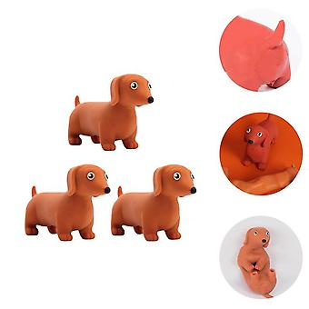 3Pcs stretchy dog squeeze toys pressure relief playthings (random color)
